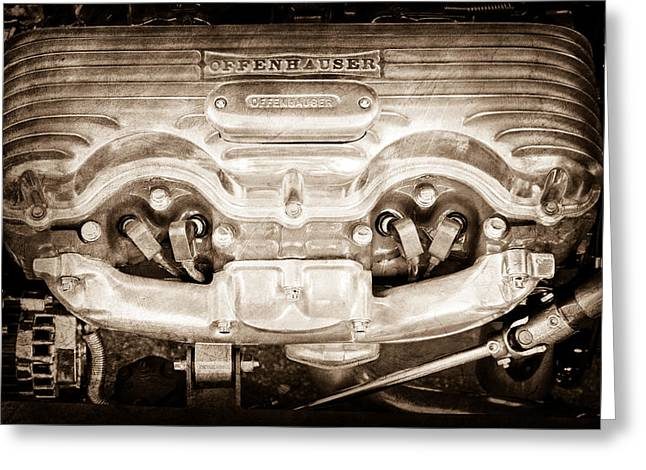 1932 Ford 409 Engine Greeting Card by Jill Reger