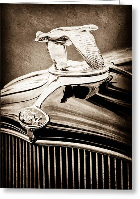 1932 Ford V8 Hood Ornament - Emblem Greeting Card by Jill Reger