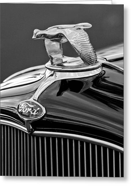 1932 Ford V8 Hood Ornament Greeting Card by Jill Reger