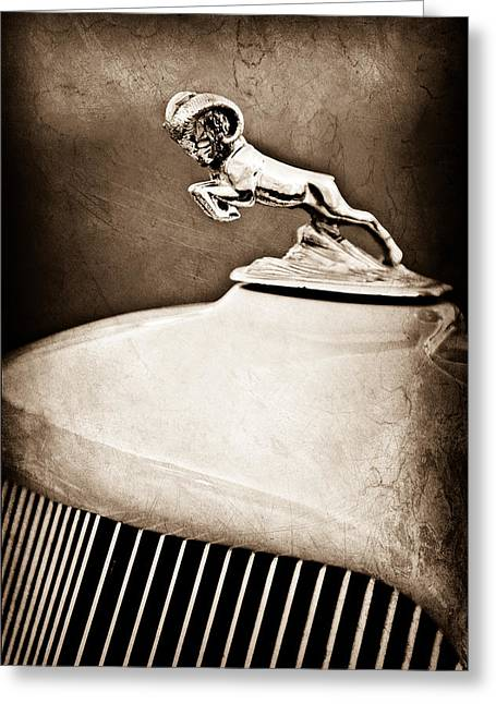 1933 Dodge Ram Hood Ornament - Grille Greeting Card