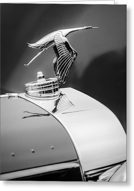 1935 Hispano-suiza J12 Vanvooren Cabriolet Hood Ornament -2425c Greeting Card