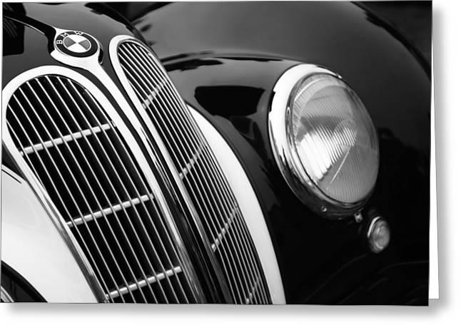 1938 Bmw 327-8 Cabriolet Grille Emblem Greeting Card by Jill Reger