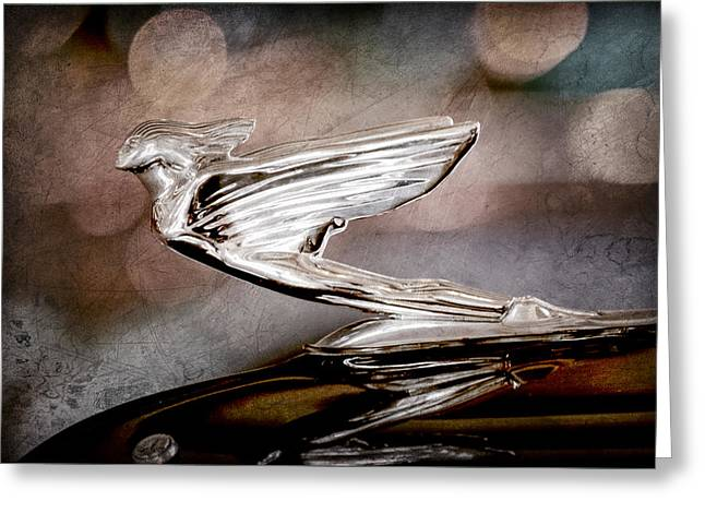 1938 Cadillac V-16 Presidential Convertible Parade Limousine Hood Ornament Greeting Card by Jill Reger