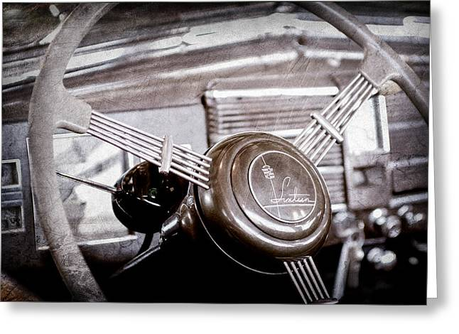 1938 Cadillac V-16 Presidential Convertible Parade Limousine Steering Wheel Emblem Greeting Card by Jill Reger