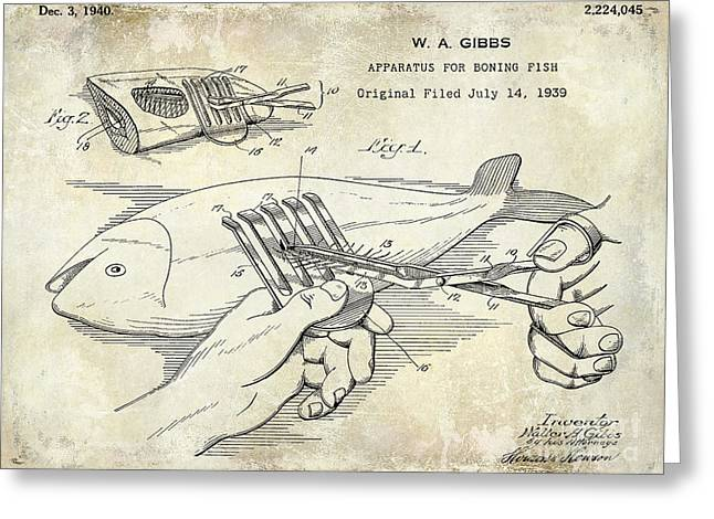 1940 Boning Fish Patent Drawing Greeting Card by Jon Neidert