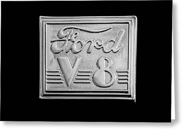 1940 Ford Coupe V8 Emblem Greeting Card