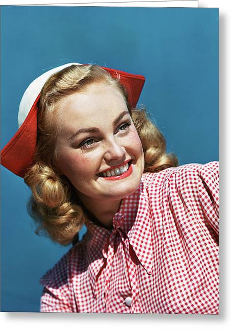 1940s 1950s Portrait Smiling Blond Greeting Card