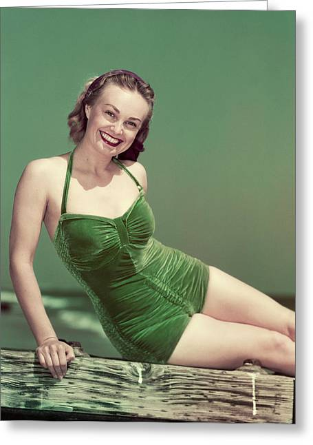 1940s Portrait Smiling Woman Wearing Greeting Card