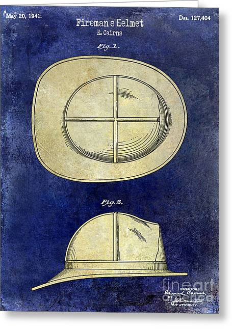 1941 Firemans Helmet Patent Drawing 2 Tone  Greeting Card by Jon Neidert