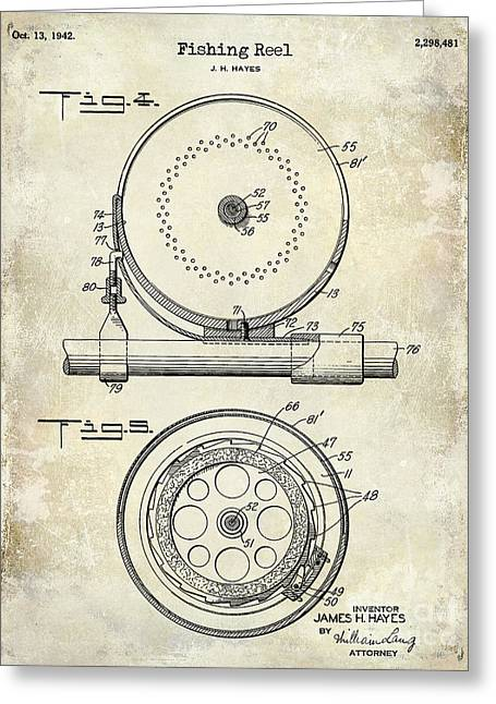 1942 Fishing Reel Patent Drawing  Greeting Card by Jon Neidert