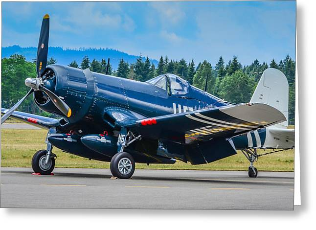 1945 Corsair Fg-1d Greeting Card by Puget  Exposure