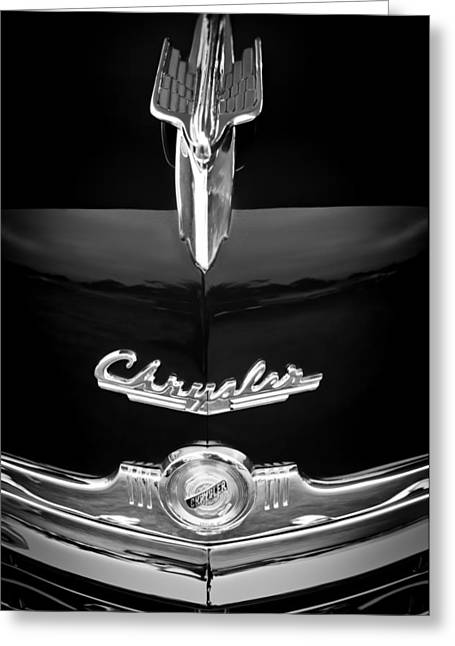 1949 Chrysler Town And Country Convertible Hood Ornament And Emblems Greeting Card