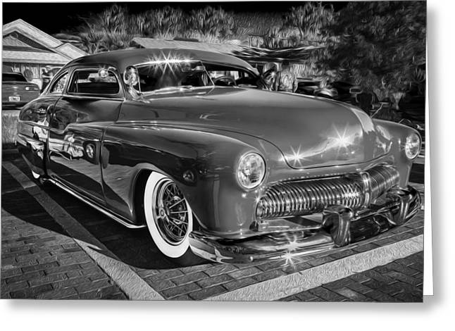 1949 Mercury Club Coupe Bw   Greeting Card by Rich Franco