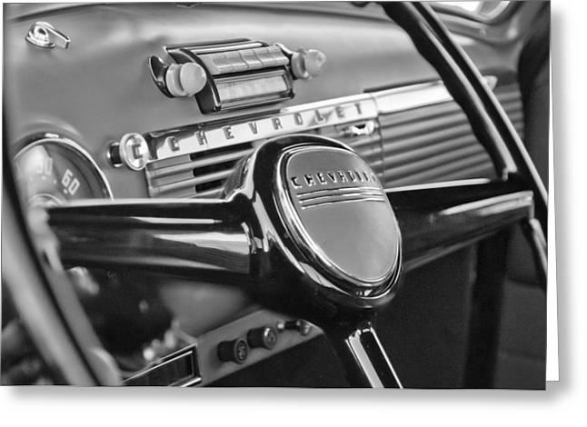 1950 Chevrolet 3100 Pickup Truck Steering Wheel Greeting Card by Jill Reger