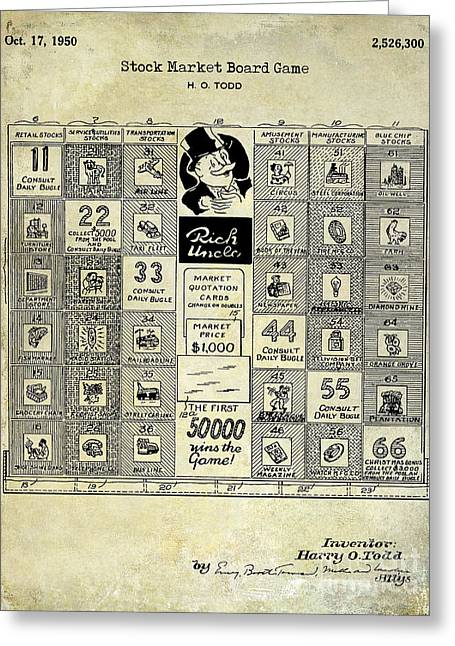 1950 Stock Market Game Patent Drawing Blue Greeting Card by Jon Neidert
