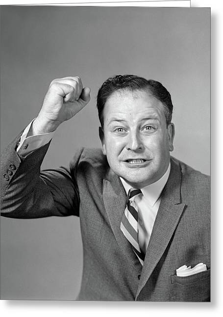 1950s 1960s Portrait Of Angry Man Greeting Card