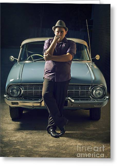 1950s Private Eye Investigator With Smoke On Car Greeting Card by Jorgo Photography - Wall Art Gallery