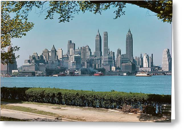 1950s Skyline Of Downtown Manhattan Greeting Card