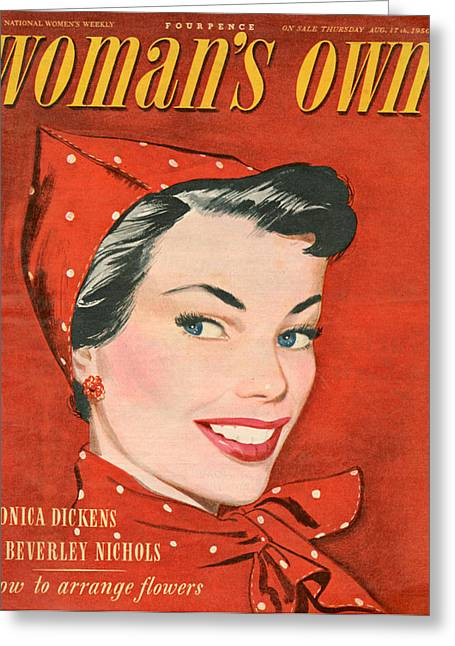 1950s Uk Womans Own Magazine Cover Greeting Card by The Advertising Archives