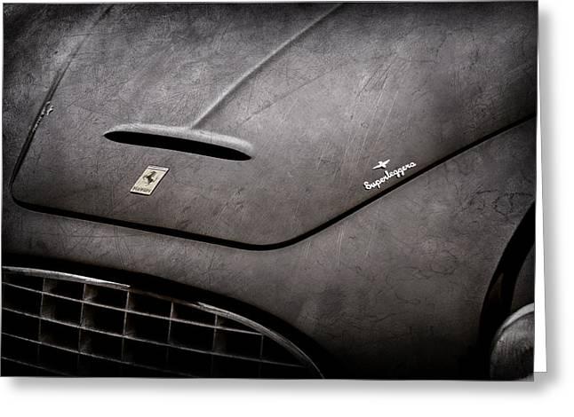 1951 Ferrari 212 Export Touring Berlinetta Hood Emblem Greeting Card by Jill Reger