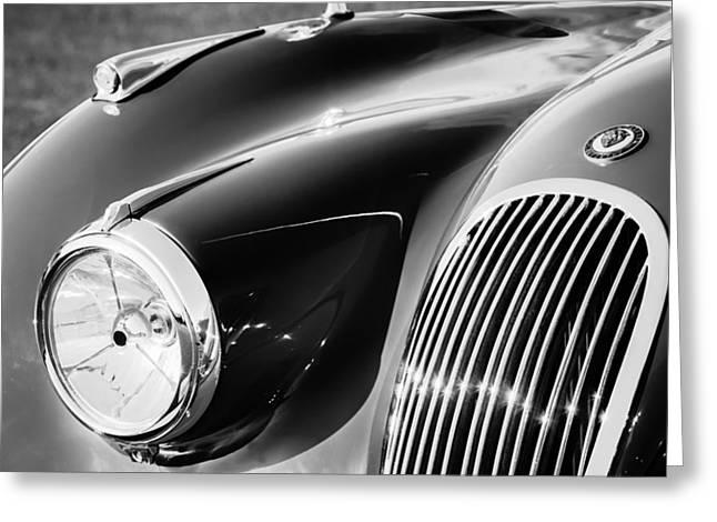 1951 Jaguar Xk 120 Ots Grille Emblem Greeting Card by Jill Reger