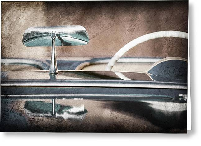 1954 Chevrolet Corvette Rearview Mirror Greeting Card