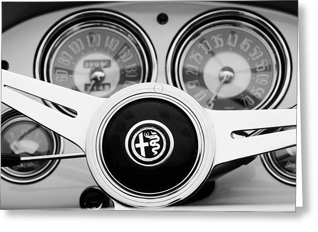 1955 Alfa-romeo 1900 Css Ghia Aigle Cabriolet Steering Wheel Greeting Card by Jill Reger