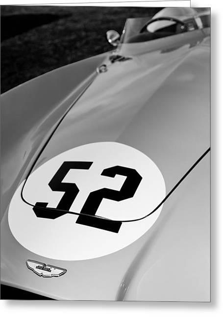 1955 Aston Martin Db3s Hood Emblem Greeting Card by Jill Reger