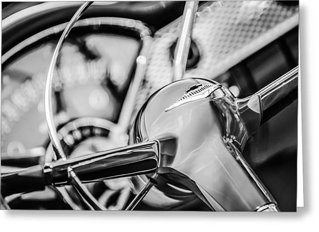 1955 Chevrolet Bel Air Convertible Steering Wheel Emblem -0976bw Greeting Card by Jill Reger