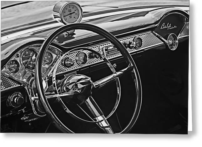 1955 Chevrolet Belair Steering Wheel - Dashboard Emblems Greeting Card