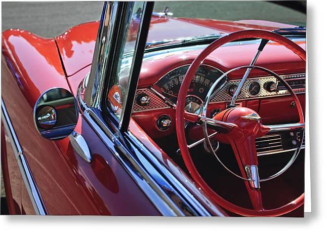 1955 Chevrolet Belair Steering Wheel Greeting Card by Jill Reger