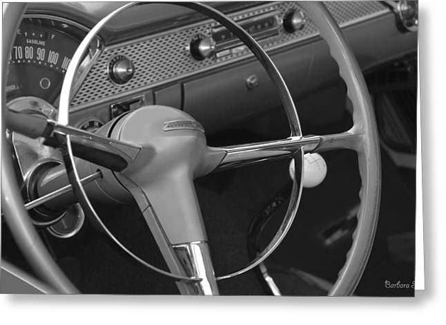 1955 Chevy Nomad Steering Wheel Greeting Card by Barbara Snyder