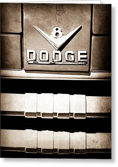 1955 Dodge C-3-b8 Pickup Truck Emblem Greeting Card by Jill Reger