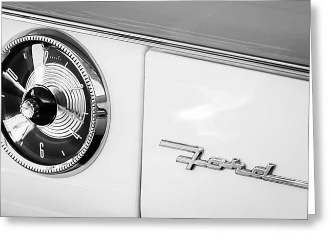 1955 Ford Crown Victoria Clock - Emblem Greeting Card