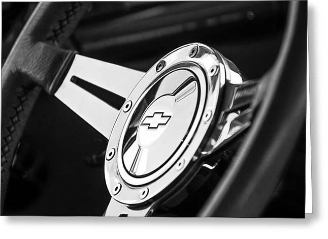 1956 Chevrolet 210 2-door Handyman Wagon Steering Wheel Emblem Greeting Card by Jill Reger