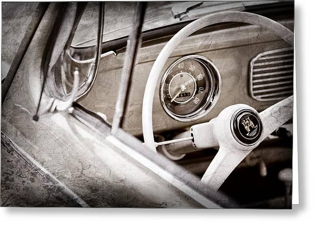 1956 Volkswagen Vw Bug Steering Wheel Greeting Card by Jill Reger