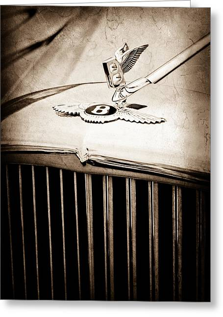 1957 Bentley S-type Hood Ornament - Emblem Greeting Card
