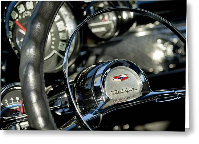1957 Chevrolet Belair Steering Wheel Greeting Card by Jill Reger