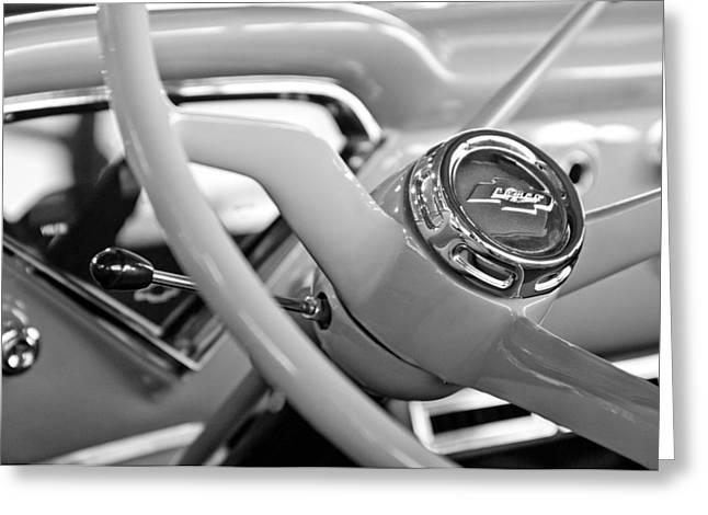 1957 Chevrolet Cameo Pickup Truck Steering Wheel Emblem Greeting Card by Jill Reger