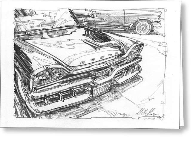 1957 Dodge Royal Lancer Study Greeting Card
