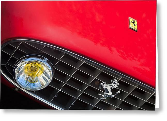 1957 Ferrari 410 Superamerica Series II Grille Emblem Greeting Card by Jill Reger