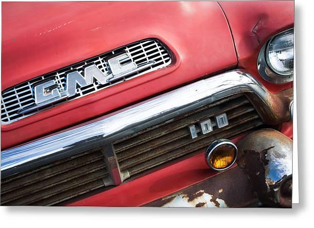 1957 Gmc V8 Pickup Truck Grille Emblem Greeting Card by Jill Reger