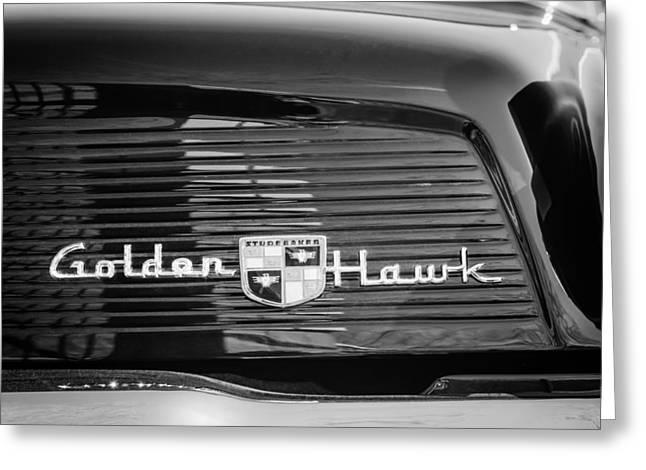 1957 Studebaker Golden Hawk Supercharged Sports Coupe Emblem Greeting Card by Jill Reger