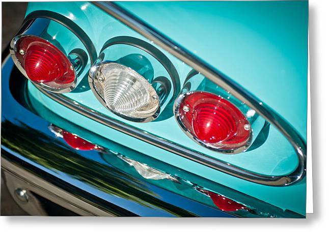 1958 Chevrolet Impala Taillight -0289c Greeting Card