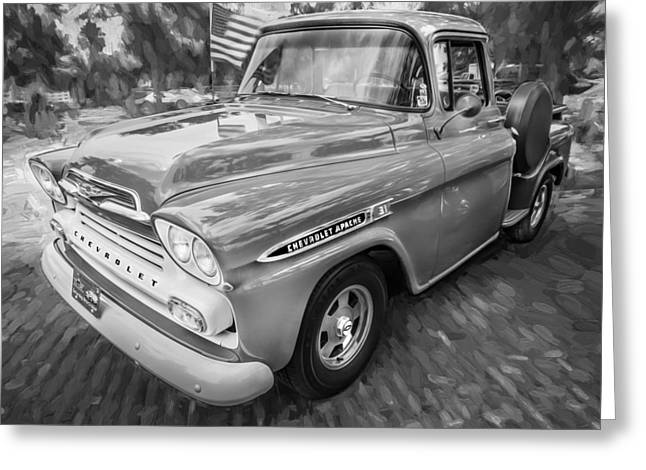 1959 Chevy Pick Up Truck Apache Series Painted Bw  Greeting Card