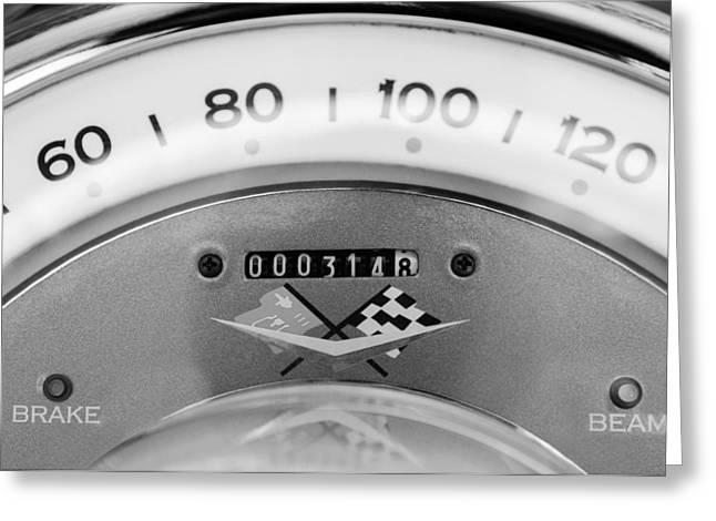 1960 Chevrolet Corvette Speedometer Greeting Card by Jill Reger
