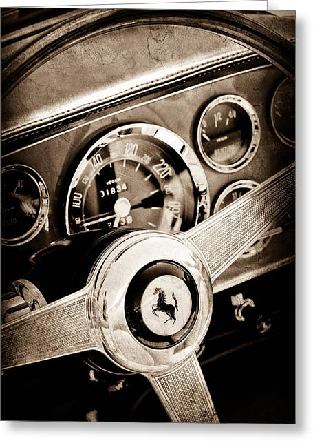 1960 Ferrari 250 Gt Cabriolet Pininfarina Series II Steering Wheel Emblem Greeting Card by Jill Reger