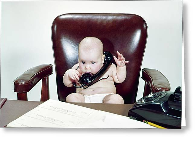 1960s Chubby Baby Sitting In Leather Greeting Card