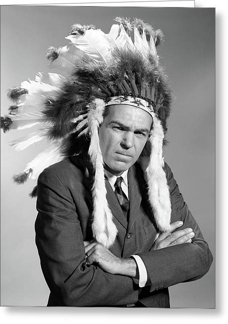 1960s Portrait Man Wearing Indian Chief Greeting Card