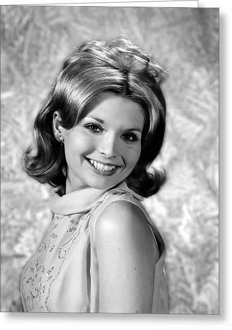 1960s Portrait Smiling Blond Woman Greeting Card